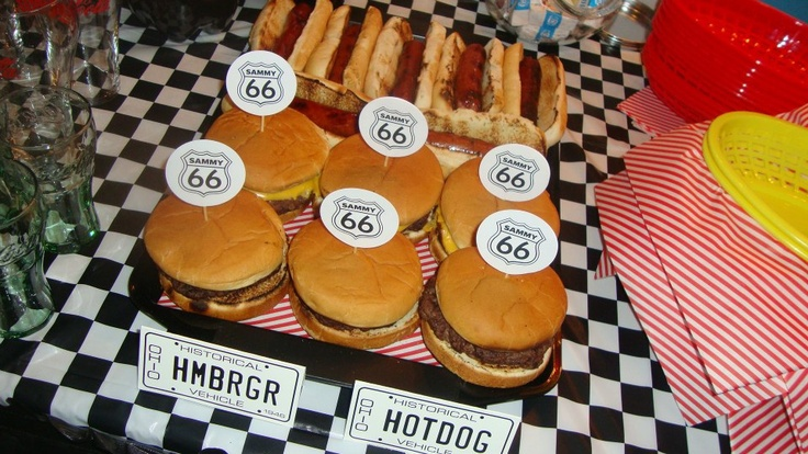 Route 66 Themed Party. Custom Cupcake Toppers & Tented Food Cards by ArtsyLydia / artsylydia.etsy.com