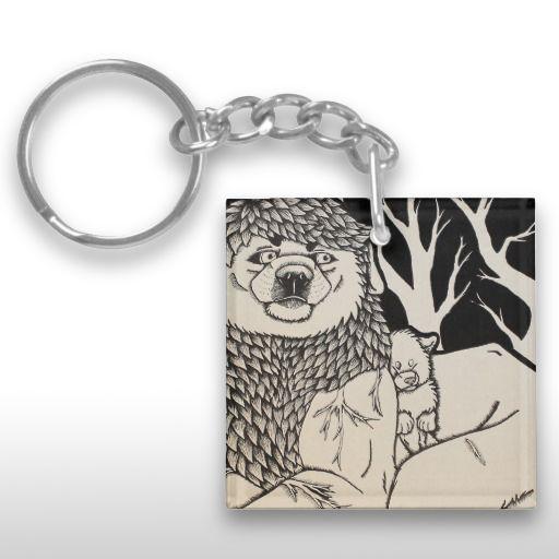 """Blue Veins"" Black and White Illustrated Dog Couple Keychain"