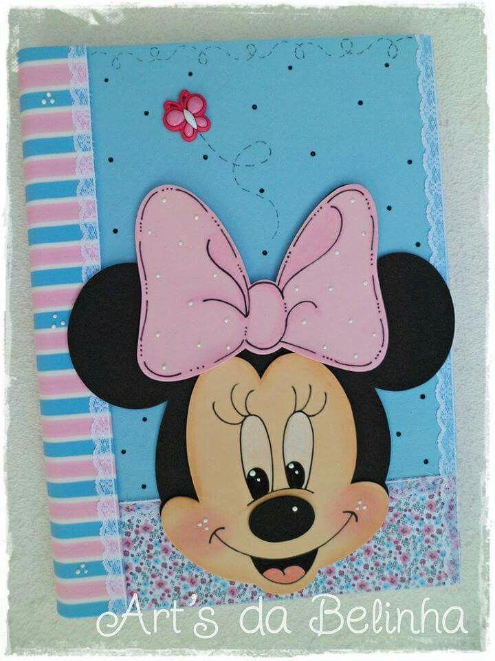Capa de caderneta Minnie em EVA.