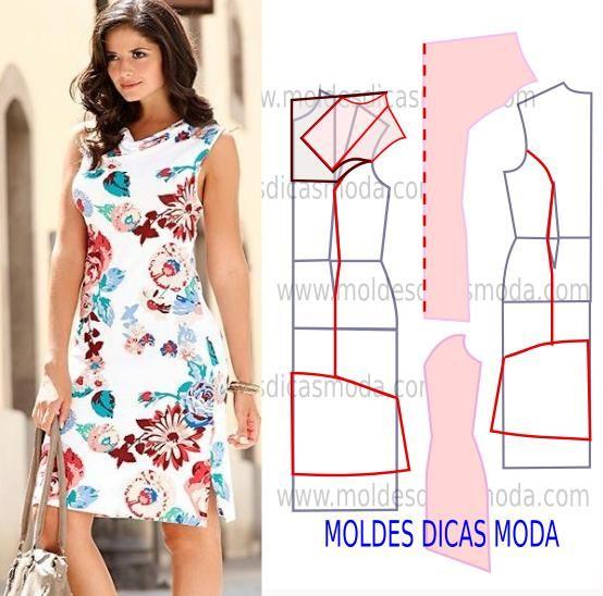 Molde de vestido elegante, descontraído e atual. Faça uma leitura correta das alterações que a imagem sugere e transforme o molde base neste belo modelo.