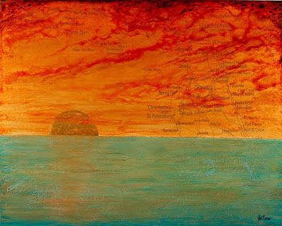 """Daily Painters Abstract Gallery: Contemporary Map Art, Florida Map Art Print """"SUNRISE/SUNSET ON THE SUNSHINE STATE"""" by Contemporary Artist Brian Billow"""