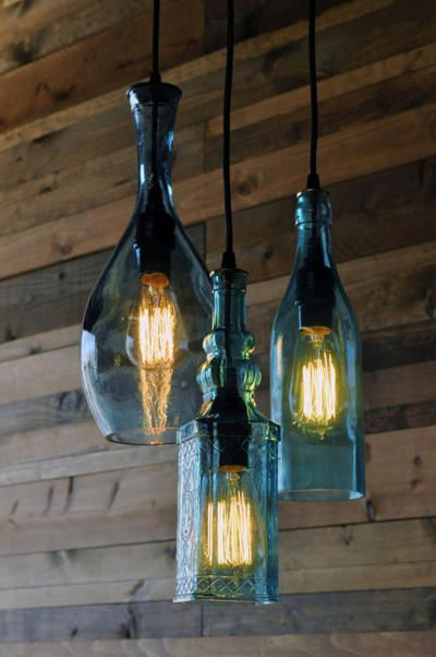 Recycled bottle chandelier - The