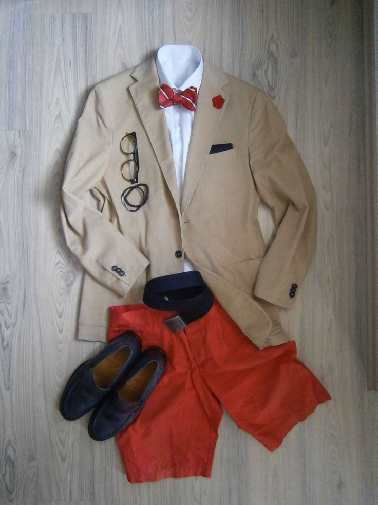 summer cord unlined jacket with deep blue buttons / carrot shorts / white long arm shirt / red bowtie with blue and white diagonal stripes / deep blue cotton handkerchief / red crocheted boutonniere / blue cotton belt / blue leather loafers / leather bracelet