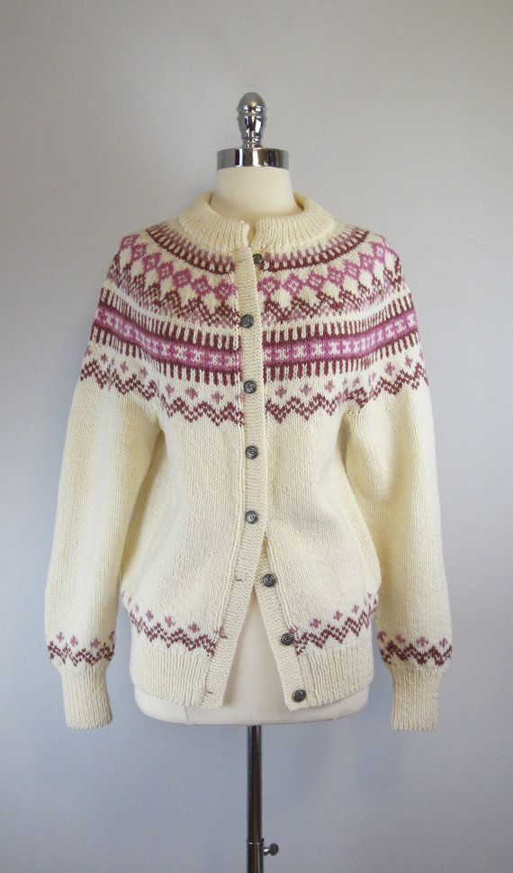 vintage nordic sweater / fair isle cardigan / scandinavian / ski sweater / Danspun cardigan