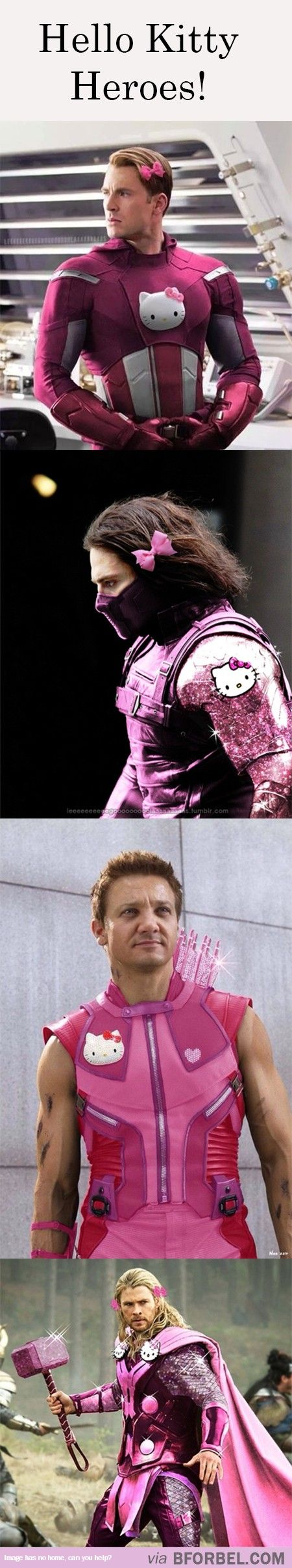 Oh gosh... I don't know if I'm okay with this... Captain America: Yeah I'm wearing Hello Kitty. You got a problem with that? Bucky: I can't believe I agreed to this! Hawkeye: I feel pretty! Thor(now with meow meow instead of Mjolnir): EYE OF THE HAWK I WILL HAVE VENGEANCE FOR THIS DISGRACE!!!