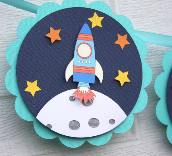 space birthday, space themed, rocket ship banner, outer space ...