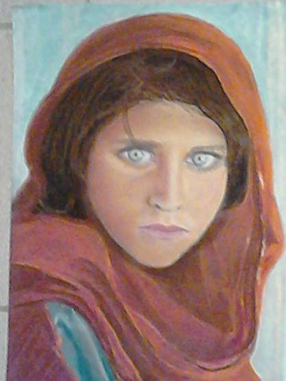 Afghaans meisje - pastelkrijt 01/2014