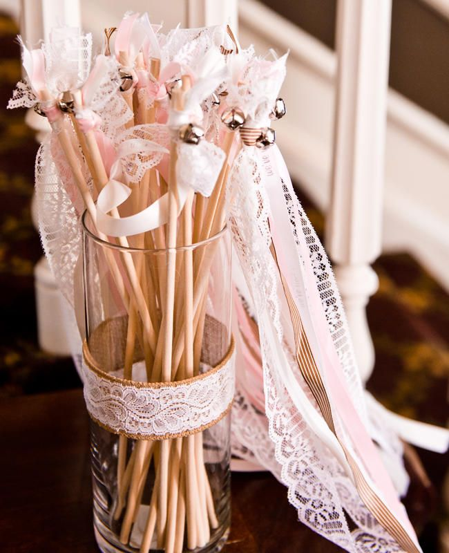 DIY Lace and Ribbon Wands | 16 Genius Ways To Use Ribbon At Your Wedding | https://www.theknot.com/content/16-genius-ways-to-use-ribbon-at-your-wedding