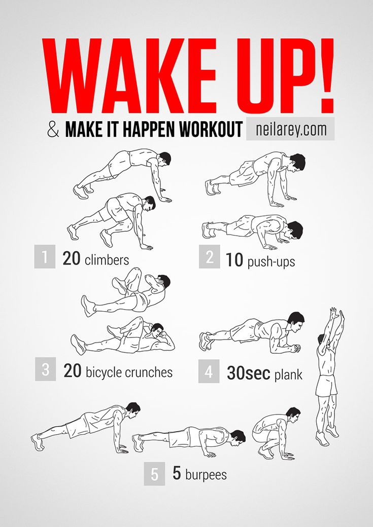 What it works: chest, shoulders, triceps, biceps, lower abs, core, quads.   Main Focus: Cardiovascular system.  Tip:This is a fast, light...