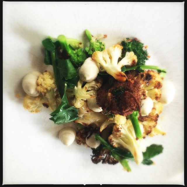 Cauliflower roasted & pickled with cashew & potato purée