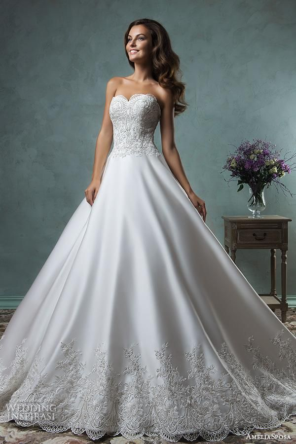 amelia sposa 2016 wedding dresses strapless sweetheart neckline embroideried bodice beautiful satin a line ball gown wedding dress canty close up.