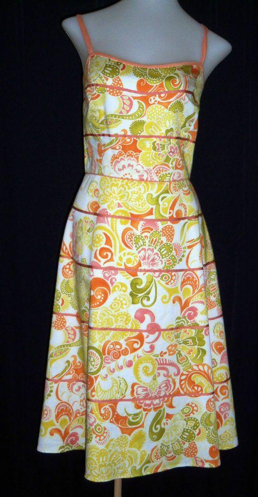 YVES COSSETTE DEPESH MODE 10 Orange Off White Green Spaghetti Strap A-Line Dress #YvesCossetteDepeshMode #TeaDress #SummerBeach