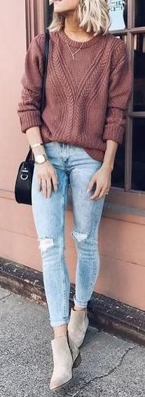 #fall #outfits / gray booties + knit