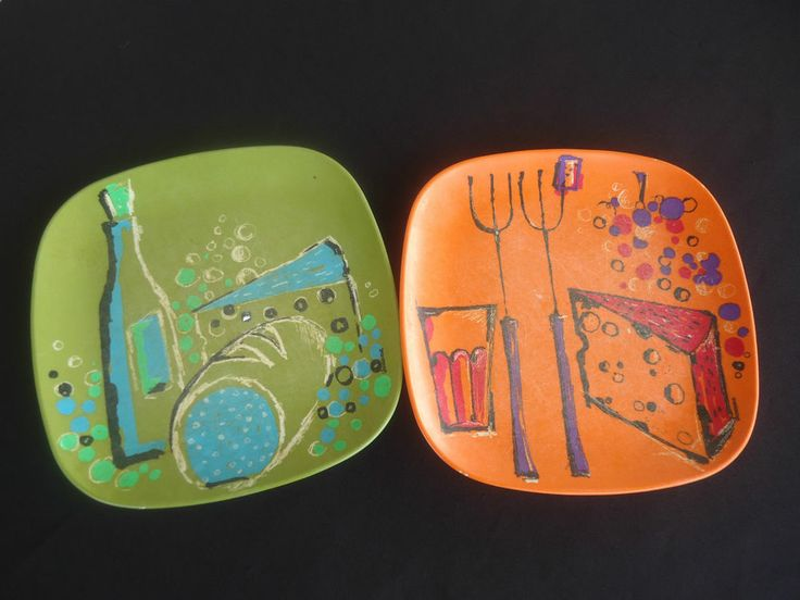 2 vintage bessemer square plates nylex melamine