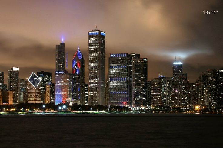 """Chicago Skyline print in color, city panorama wall art, 5x7 to 30x45"""" on photo paper or canvas. Christmas delivery deadline for PAPER PRINTS is Tuesday, December 20th by the end of the day (1 day processing and a complimentary upgrade to a 1-day expedited shipping - you will get your prints within 2 days of a purchase!). CANVAS prints take longer and those will arrive after Christmas. This is Chicago Skyline after Cubs won their title, """"World Champs"""" displayed on one of the downtown..."""
