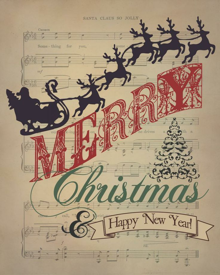 image relating to Free Printable Vintage Christmas Sheet Music known as merry xmas and satisfied contemporary calendar year clip artwork no cost 2019