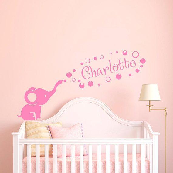 Nom Initiale Personnalisée Wall Decor Filles Baby Art Chambre Autocollants muraux
