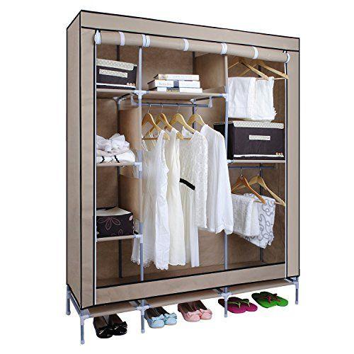 Canvas Wardrobe, HST Mall Triple Canvas Clothes Cupboard…