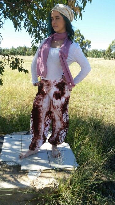 Gypsy style baggy cotton pants.. gorgeous baby pink scarf