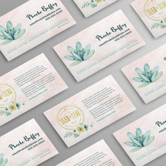 Seed to Seal. Watercolor Design. Represent your Young Living business with a creative, professional and affordable business card.