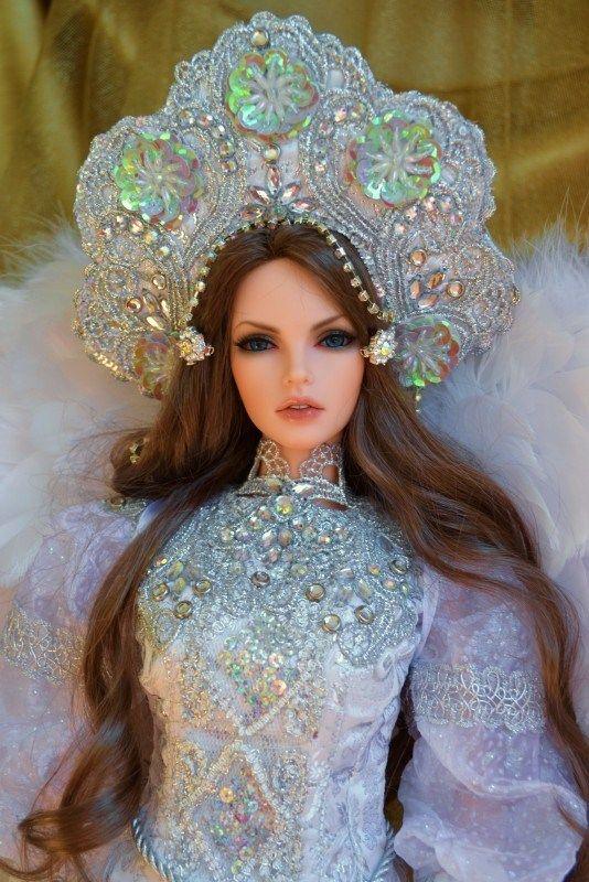 """A doll in the Russian headdress """"Kokoshnik""""."""
