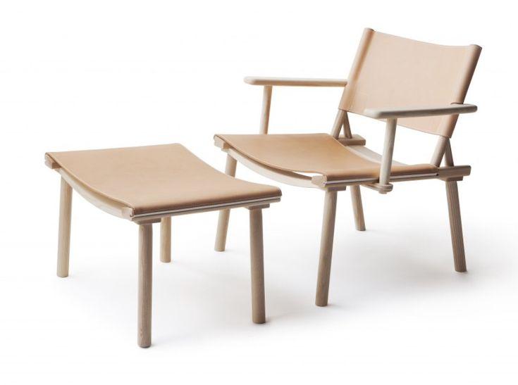 Nikari december XL lounge chair fåtölj med armstöd läder fotpall ek ask noma2.0