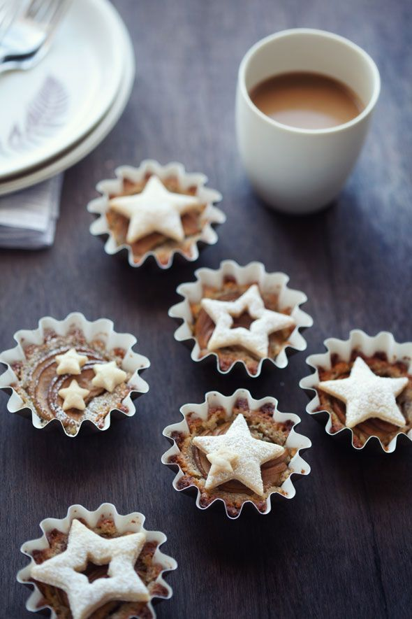 Cannelle et Vanille: Pears and frangipane baked in baking cups and topped with pie dough cutouts, which make a great packaged gift.