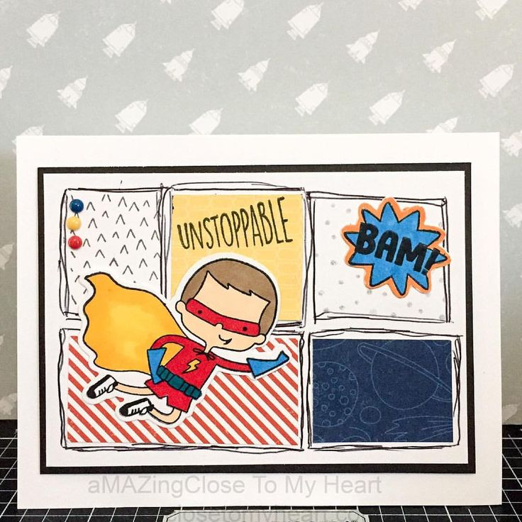 Birthday comic book style card with Close To My Heart Super Boy + Thin Cuts Set. #CTMH www.maz.closetomyheart.com.au