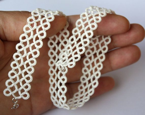 Pinner says:  SALE  Tatted Lace choker ivory tatting sterling by LaceLadyOla, $30.00
