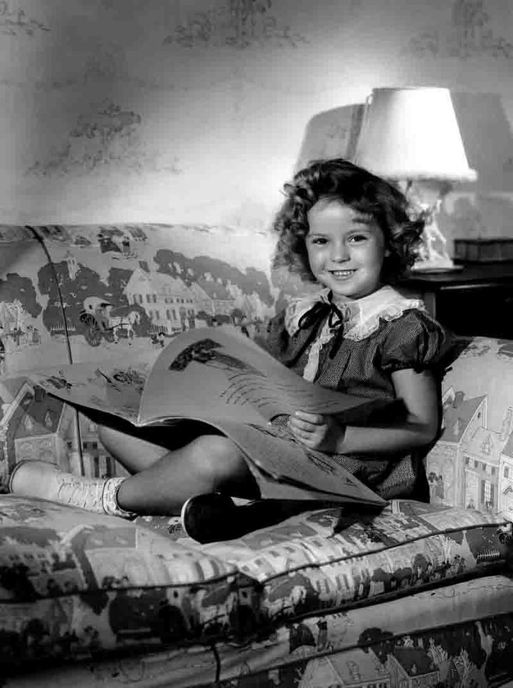 Shirley Temple in her studio bungalow, 1935.