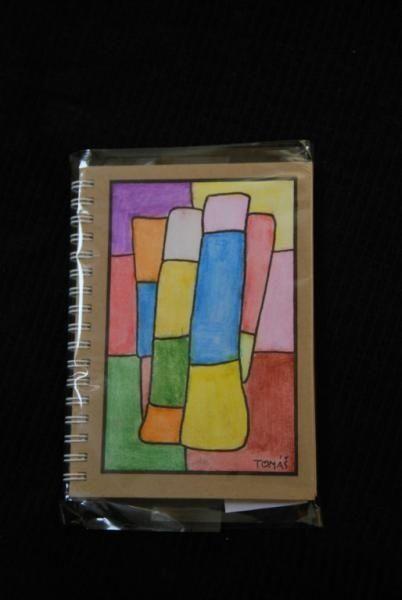 Blok, kroužková vazba, desky ručně malovaný karton 11 cm x 15 cm