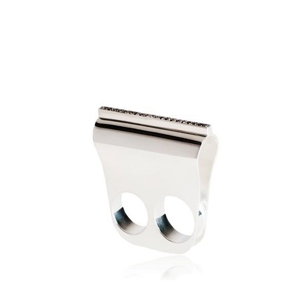 Diletta Gioacchini Silver Ring With Black Diamonds (€1.385) found on Polyvore