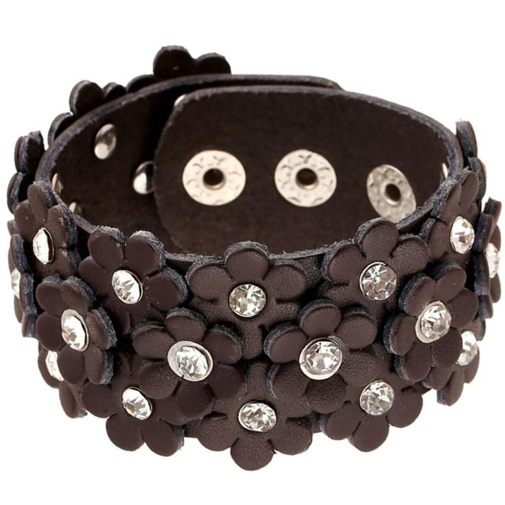 A Hand Full Of Flowers Wide Cuff Leather Bracelet