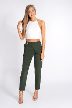 Tamzin Khaki Wrap Over D-Ring Trousers