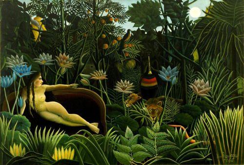"""Henri Rousseau Rüya 1910 """"Her rüya küçük bir sanat eseridir ve her gece hepimiz rüya görürüz. """" Sigmund Freud"""