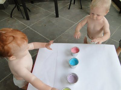 Painting With Toddlers -DIY Edible Finger Paint -Plain Yogurt and 1 drop food coloring.  Repeat for additional colors.  No worries about toddlers eating the paint :)