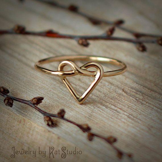 Gold heart knot ring love knot ring Infinity Heart by Katstudio, $105.00