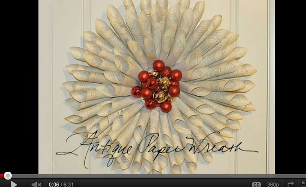 Wreath of antique book pages. I want to make one from an old music book.