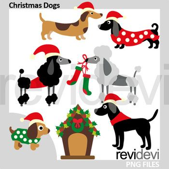 Christmas dogs clipart. A very fun Christmas puppy clip art. Dachshund, poodle, black labrador, and a dog house. Great resource for any school and classroom projects such as for creating bulletin board, printable, worksheet, classroom decor, craft materials, activities and games, and for