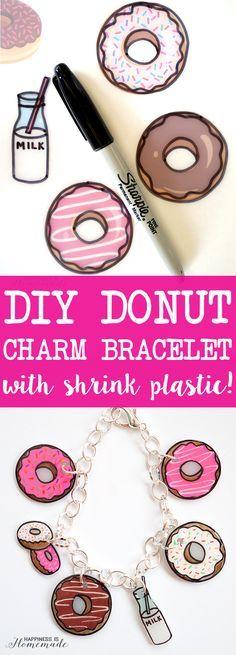 DIY Donut Charm Bracelet with Shrink Plastic