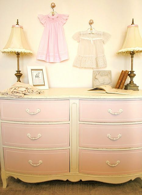 gorgeous color combo! ASCP Old White with Martha Stewart ballet slipper pink on fronts.  #sophiaslivebeautifully