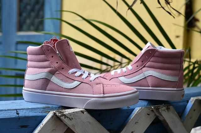 842510a0ac Vans Suede SK8-Hi Classics Pink True White Womens Shoes  Vans
