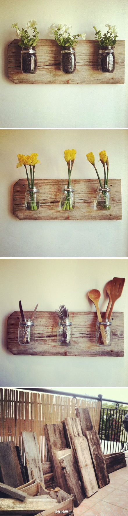 Salvaged wood with mason jar vases/containers.