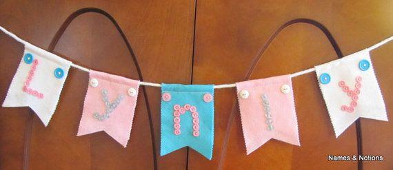 Custom Baby Name Banner Felt Baby Bunting Flags door NamesandNotions