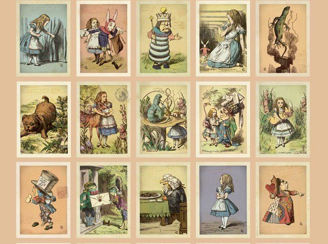 Free Shipping/ 60 designs/ Alice In Wonderland Vintage Postcards with Envelope/ European Vintage Korean Stationery wholesale-in Crafts from Home & Garden on Aliexpress.com