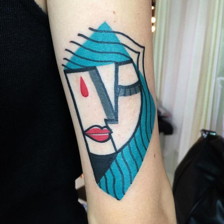 Les tatouages cubistes colorés inspirés de Picasso de Mike Boyd  2Tout2Rien