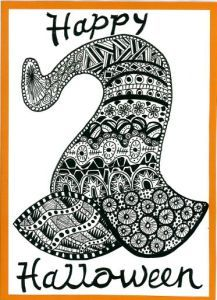 Witches hat zentangle art card. Zana's Cards measure 7.2″ x 5.2″, or 18cm x 13cm.They also include an envelope for you to use to send your cards. #hatzentangle #halloweenzentangle #zentanglecard #zentangleart #zanascards www.zanascards.com