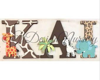 PRIVATE LISTING -CUSTOM Safari Theme - Custom Nursery Letters - Wooden Sign