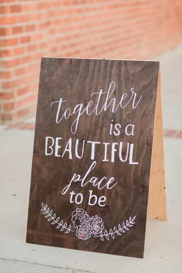 Sweet rustic wood wedding sign: http://www.stylemepretty.com/little-black-book-blog/2016/03/18/whimsical-summer-wedding-at-the-estate-on-second/ | Photography: Koman Photography - http://komanphotography.com/