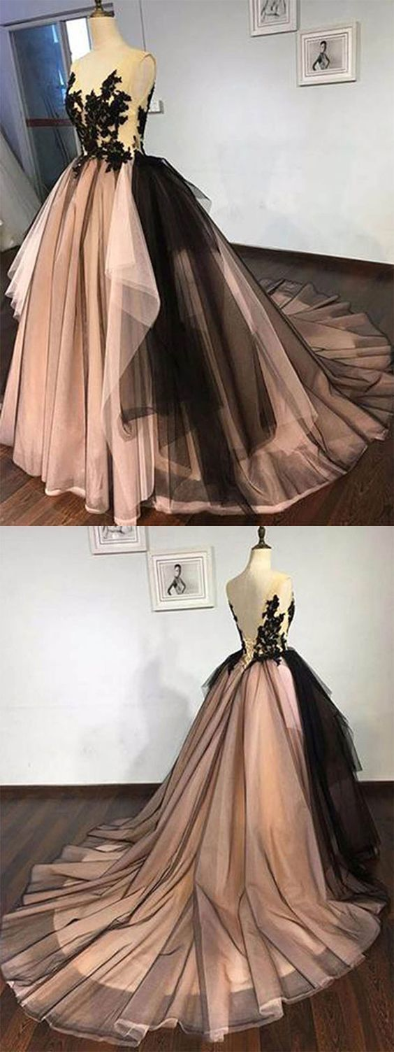Black tulle lace long prom dress black evening dress in ball